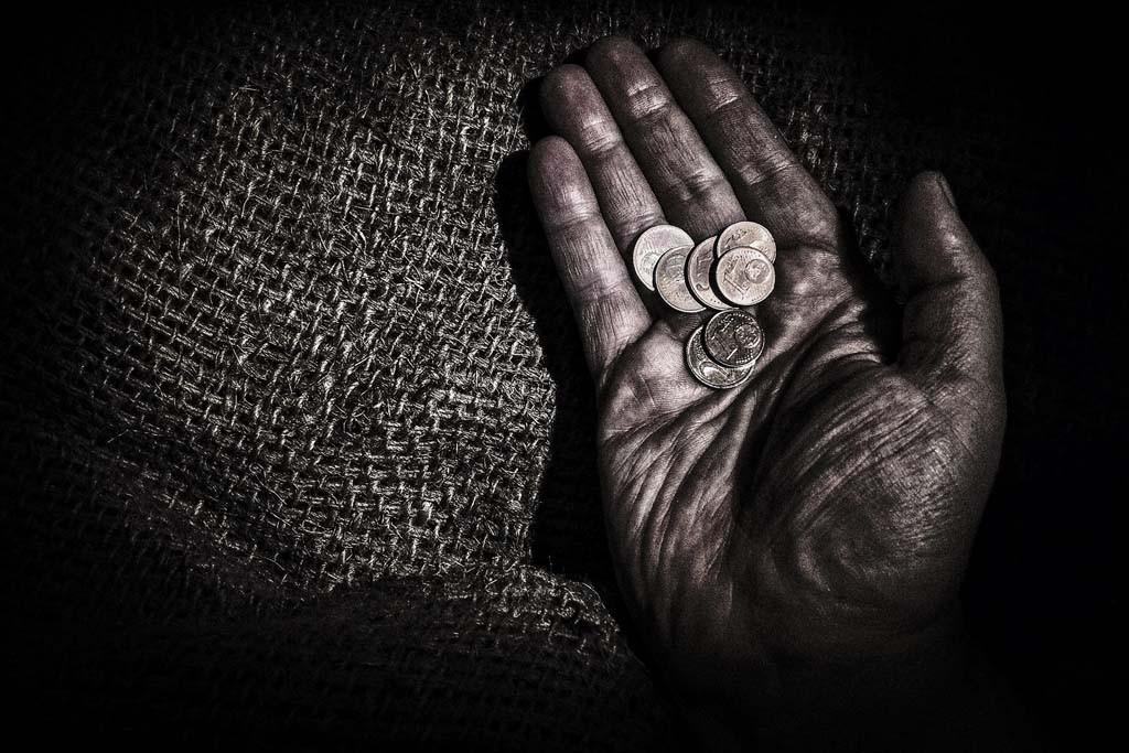 Hand eines Bettlers
