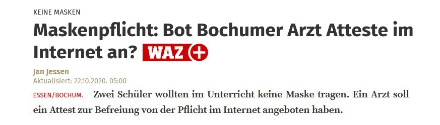 Maskenpflicht: Bot Bochumer Arzt Atteste im Internet an?
